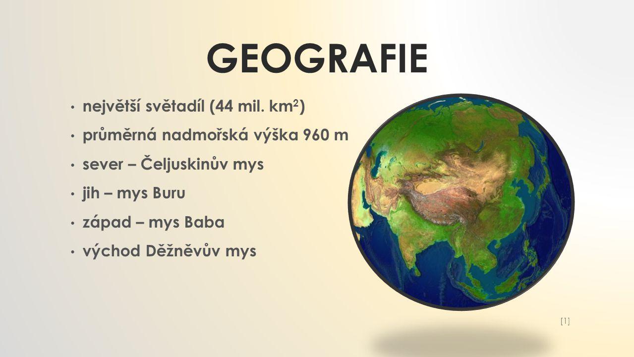Geografie největší světadíl (44 mil. km2)