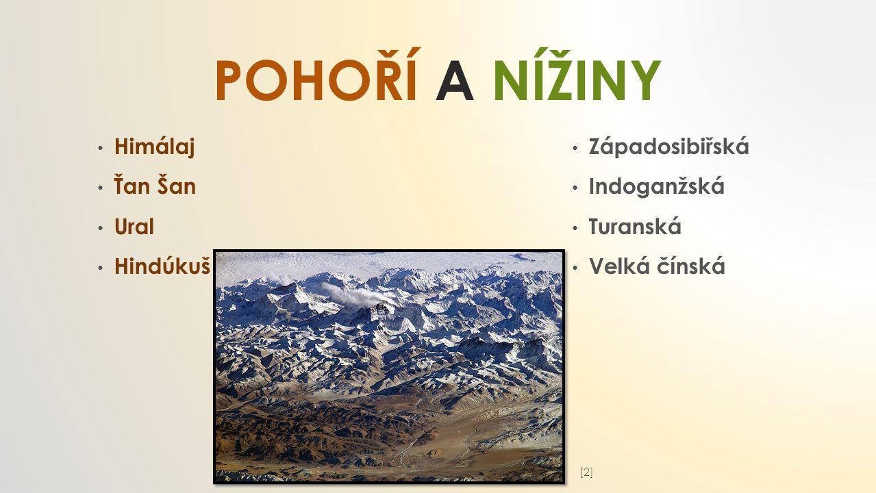 POHOří a nížiny Himálaj Ťan Šan Ural Hindúkuš Západosibiřská