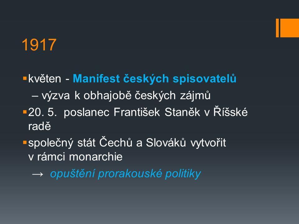 1917 květen - Manifest českých spisovatelů