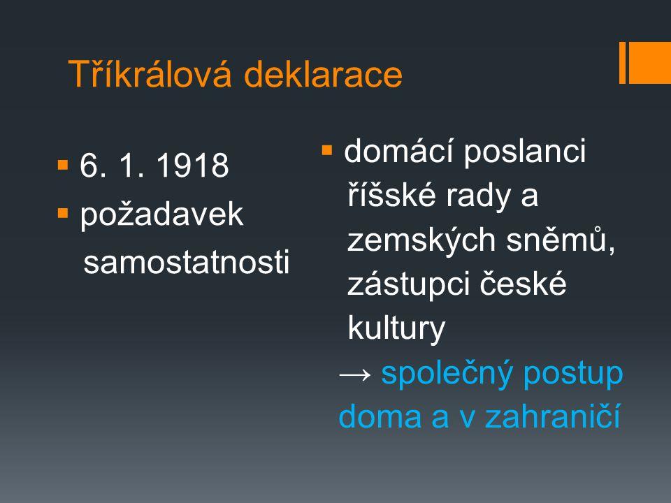 Tříkrálová deklarace domácí poslanci 6. 1. 1918 říšské rady a