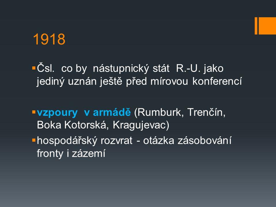 1918 Čsl. co by nástupnický stát R.-U. jako jediný uznán ještě před mírovou konferencí.