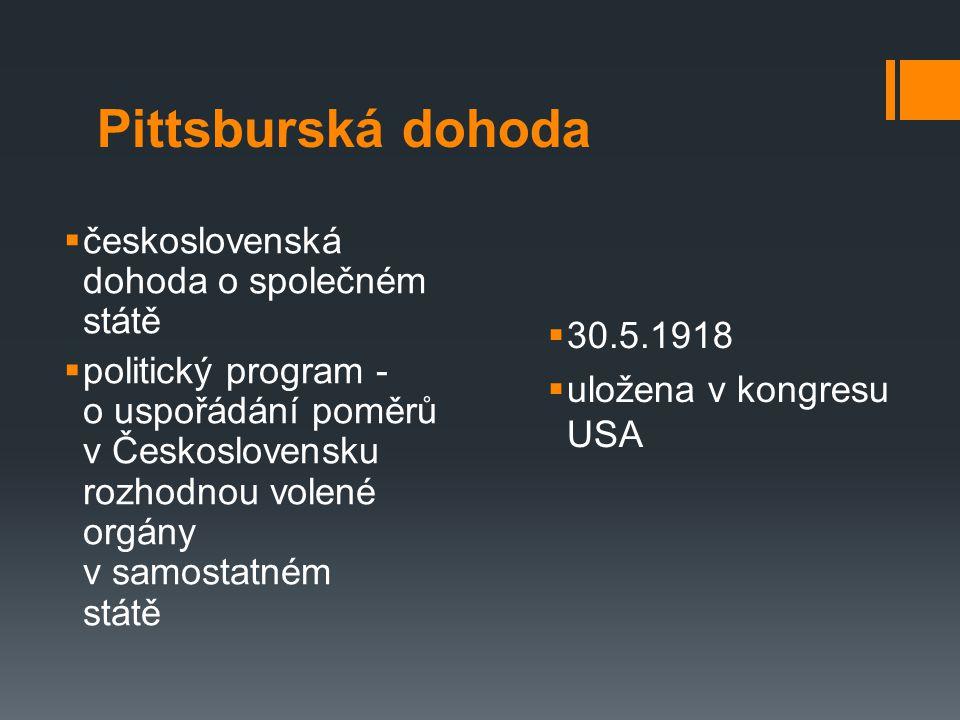 Pittsburská dohoda československá dohoda o společném státě