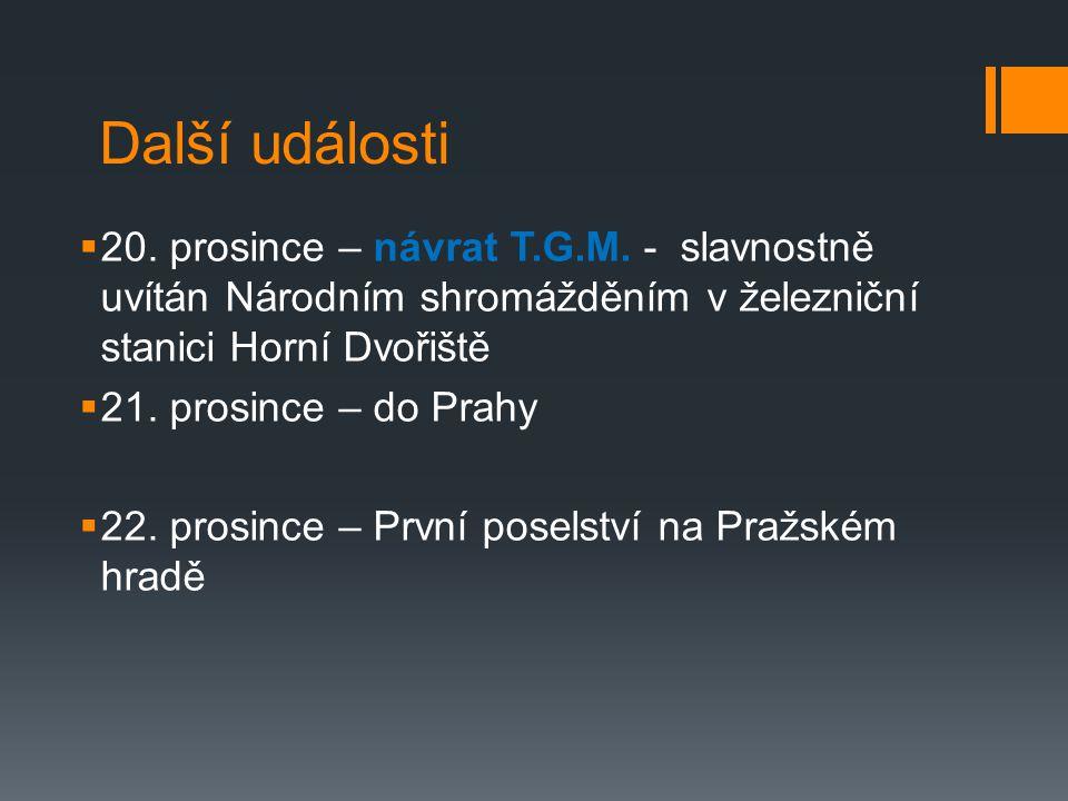 Další události 20. prosince – návrat T.G.M. - slavnostně uvítán Národním shromážděním v železniční stanici Horní Dvořiště.