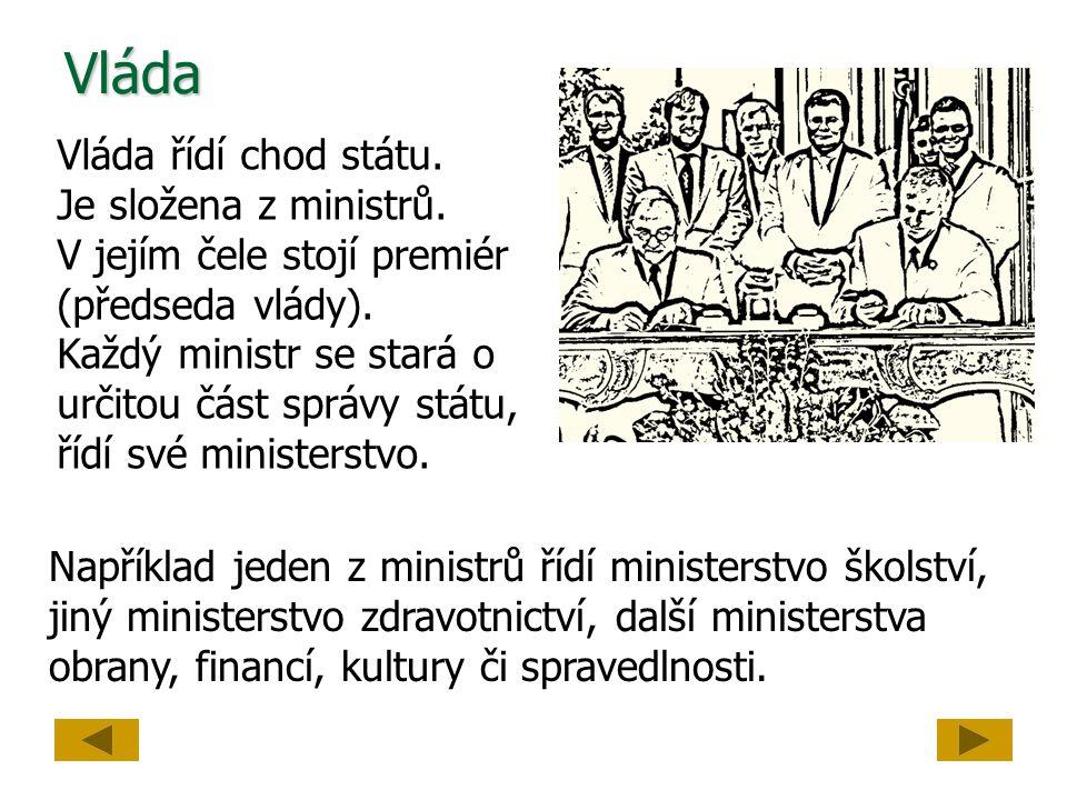 Vláda Vláda řídí chod státu. Je složena z ministrů.