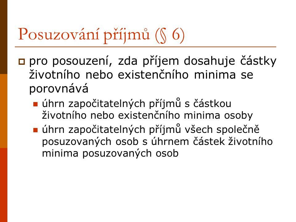 Posuzování příjmů (§ 6) pro posouzení, zda příjem dosahuje částky životního nebo existenčního minima se porovnává.