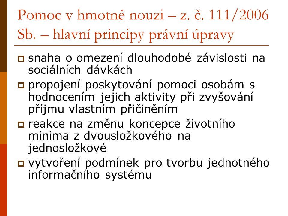 Pomoc v hmotné nouzi – z. č. 111/2006 Sb