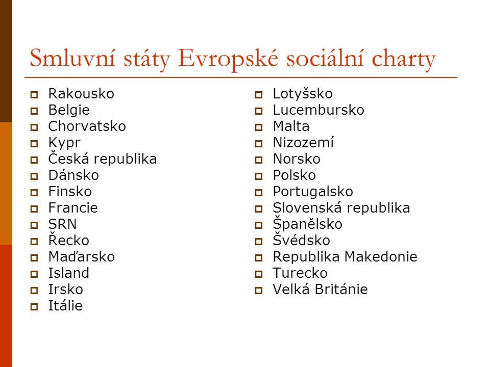 Smluvní státy Evropské sociální charty