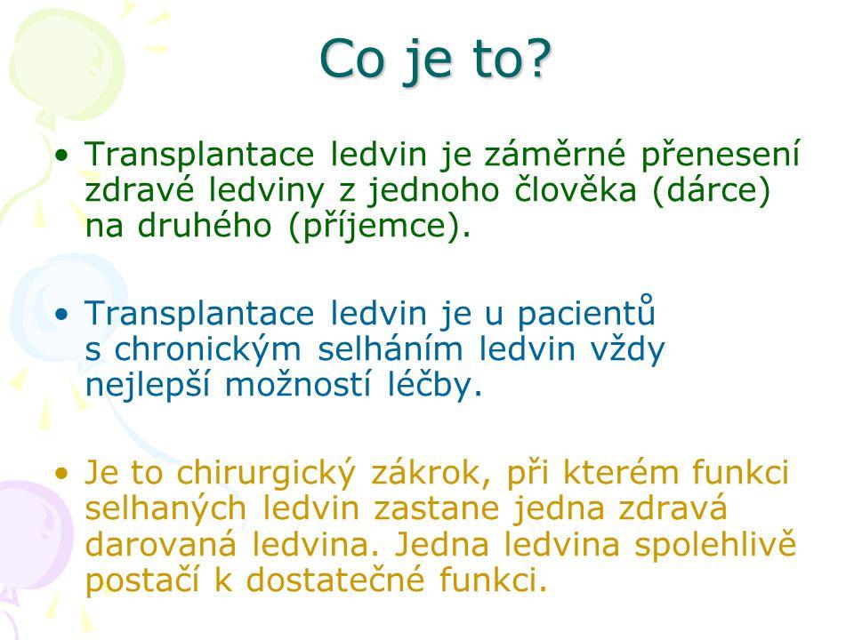 Co je to Transplantace ledvin je záměrné přenesení zdravé ledviny z jednoho člověka (dárce) na druhého (příjemce).