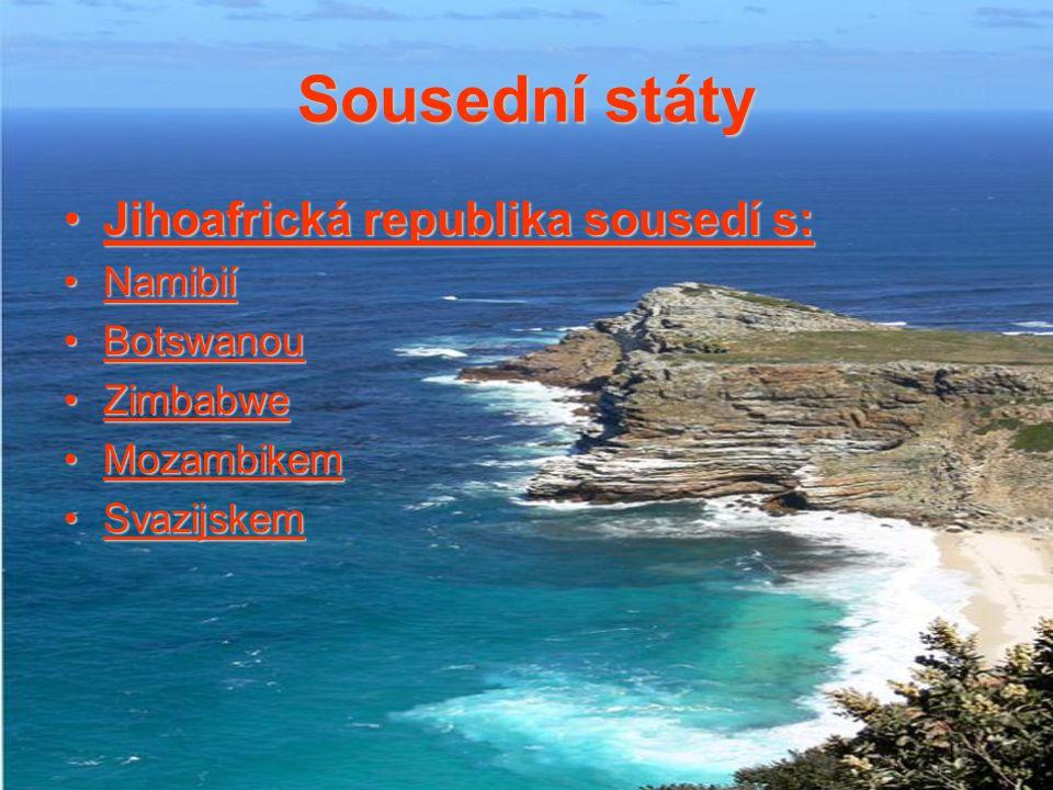 Sousední státy Jihoafrická republika sousedí s: Namibií Botswanou