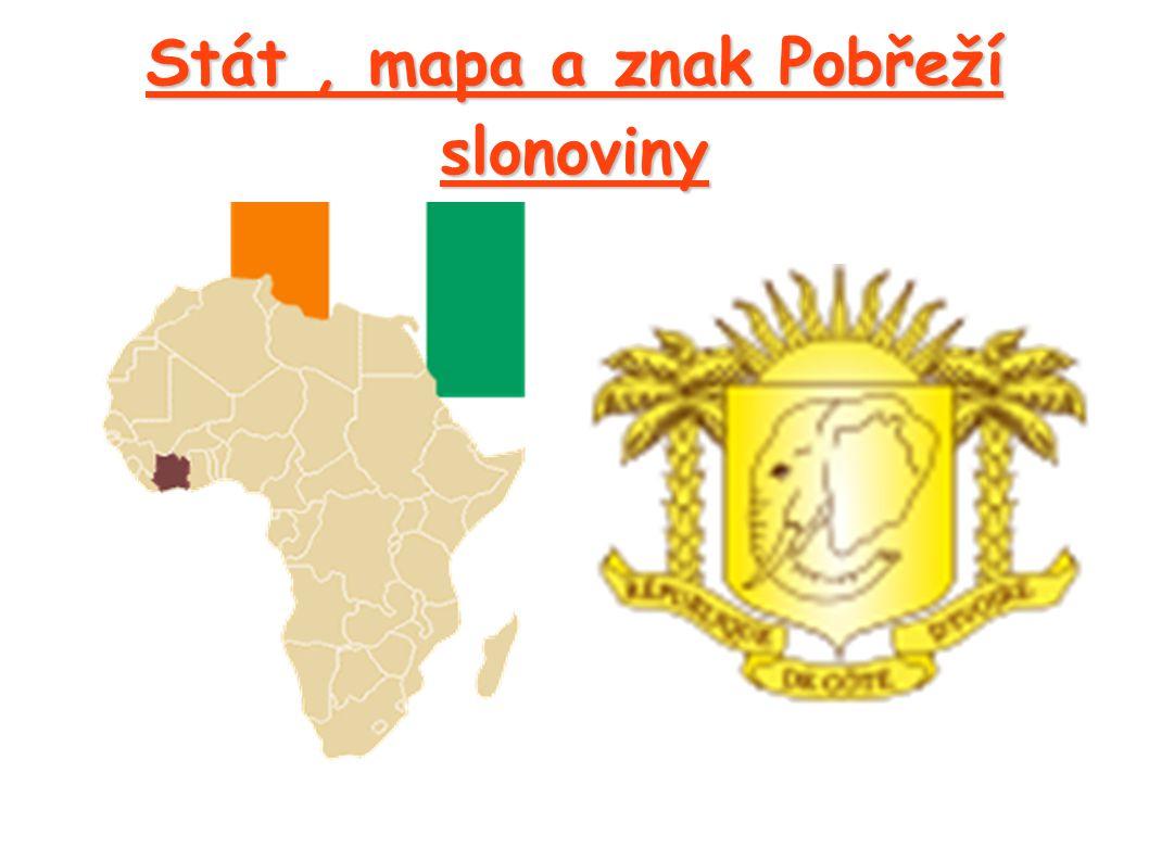 Stát , mapa a znak Pobřeží slonoviny