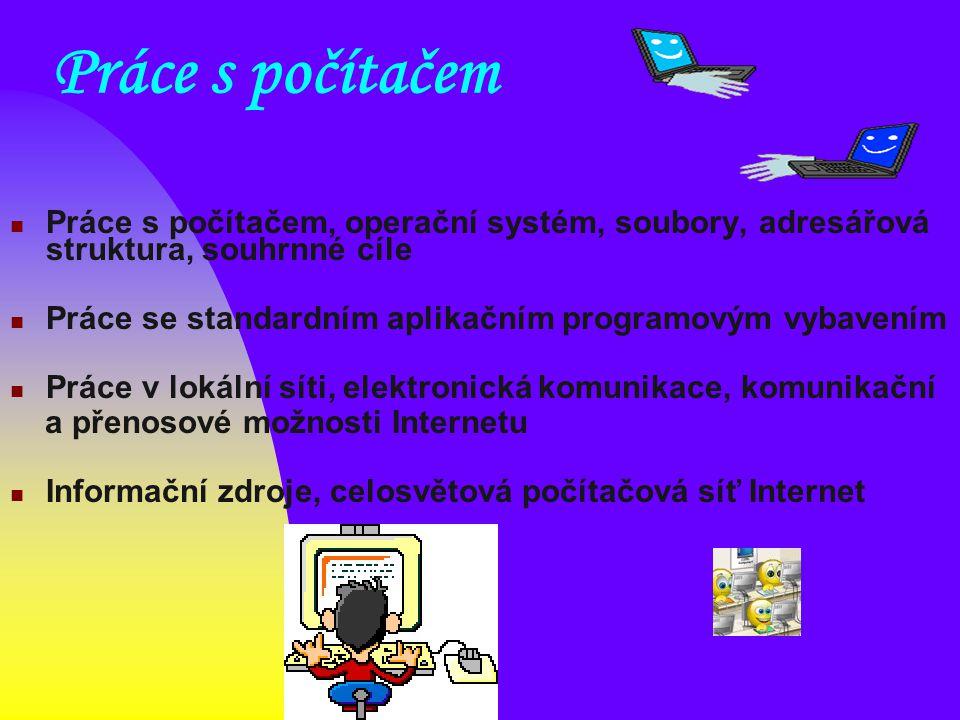 Práce s počítačem Práce s počítačem, operační systém, soubory, adresářová struktura, souhrnné cíle.