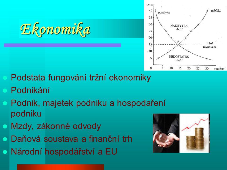 Ekonomika Podstata fungování tržní ekonomiky Podnikání