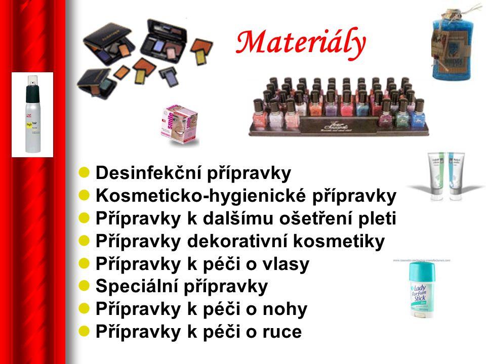Materiály Desinfekční přípravky Kosmeticko-hygienické přípravky
