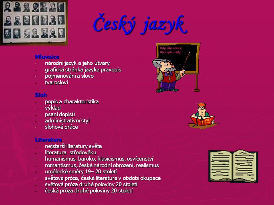 Český jazyk Mluvnice národní jazyk a jeho útvary