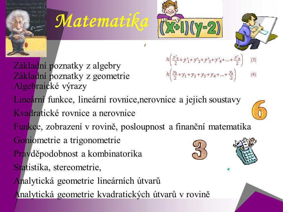 Matematika Základní poznatky z algebry Základní poznatky z geometrie