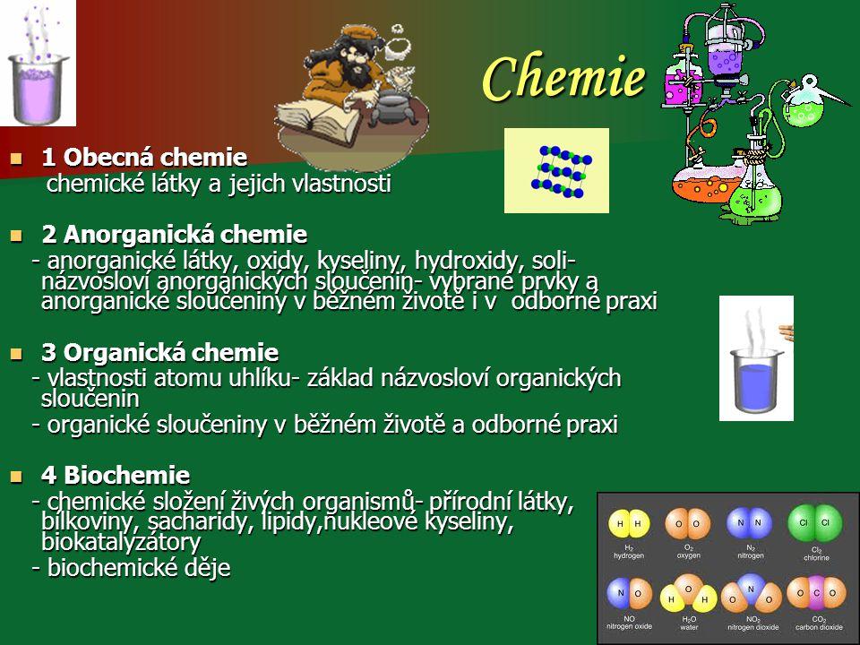 Chemie 1 Obecná chemie chemické látky a jejich vlastnosti