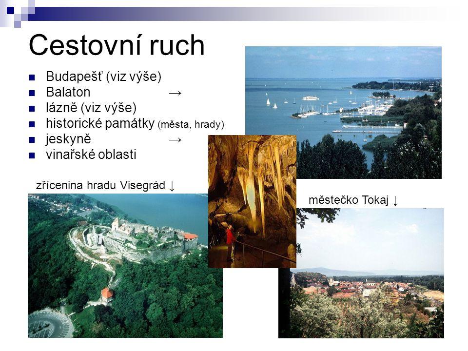 Cestovní ruch Budapešť (viz výše) Balaton → lázně (viz výše)