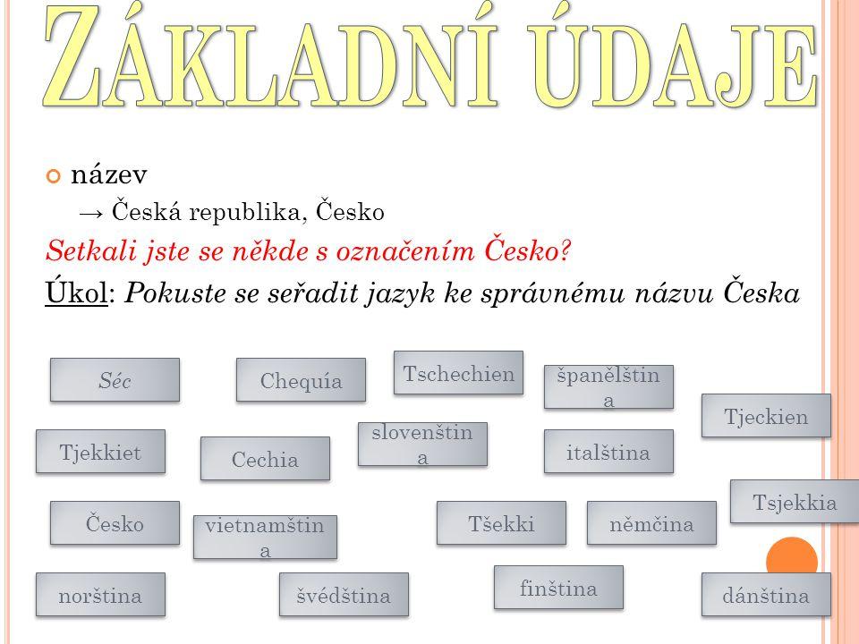 Základní údaje název Setkali jste se někde s označením Česko