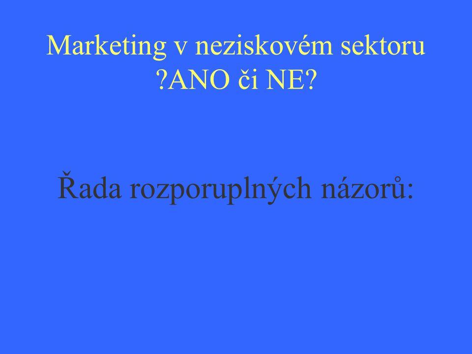 Marketing v neziskovém sektoru ANO či NE