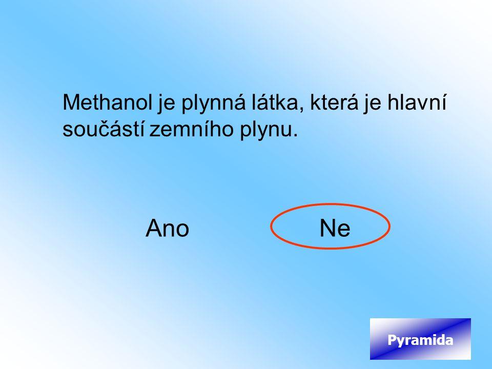 Methanol je plynná látka, která je hlavní součástí zemního plynu.