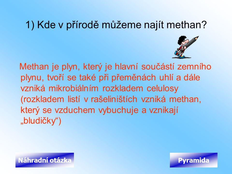 1) Kde v přírodě můžeme najít methan