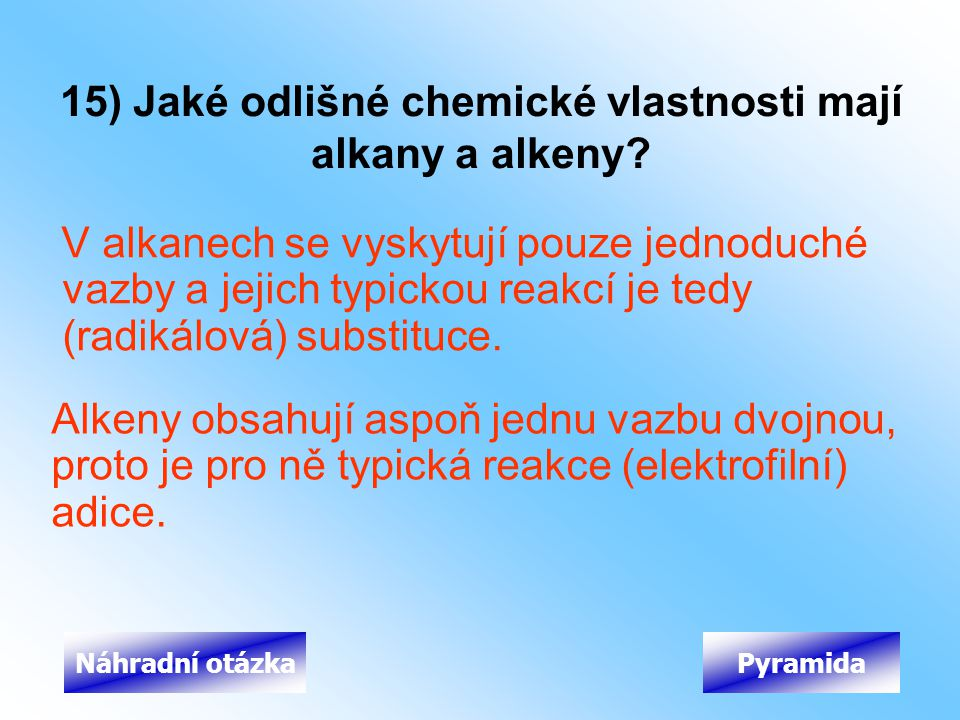 15) Jaké odlišné chemické vlastnosti mají alkany a alkeny
