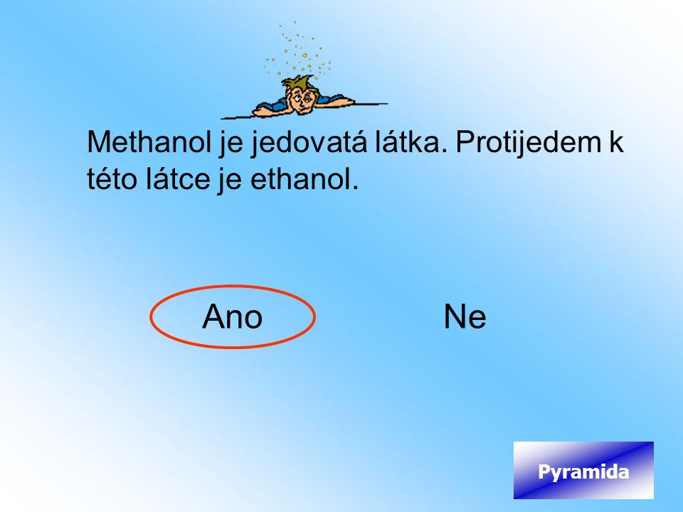 Ano Ne Methanol je jedovatá látka. Protijedem k této látce je ethanol.