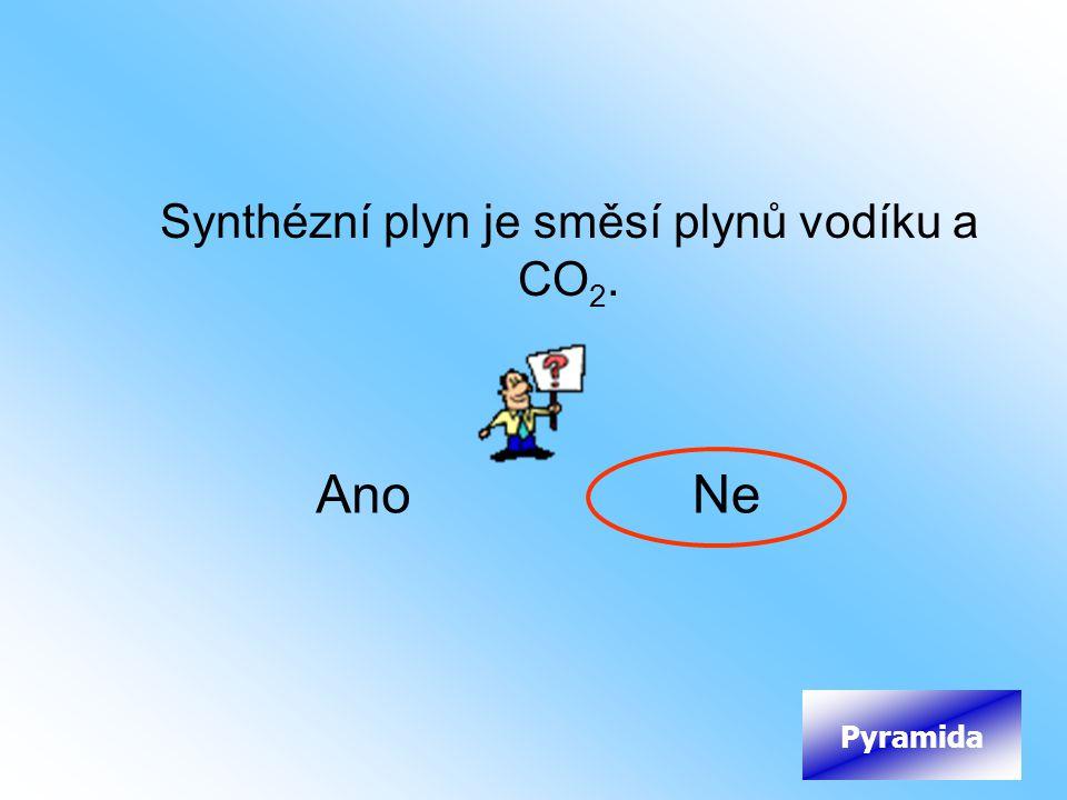 Synthézní plyn je směsí plynů vodíku a CO2.