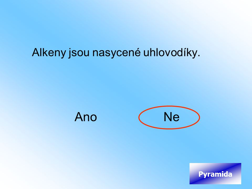 Alkeny jsou nasycené uhlovodíky.