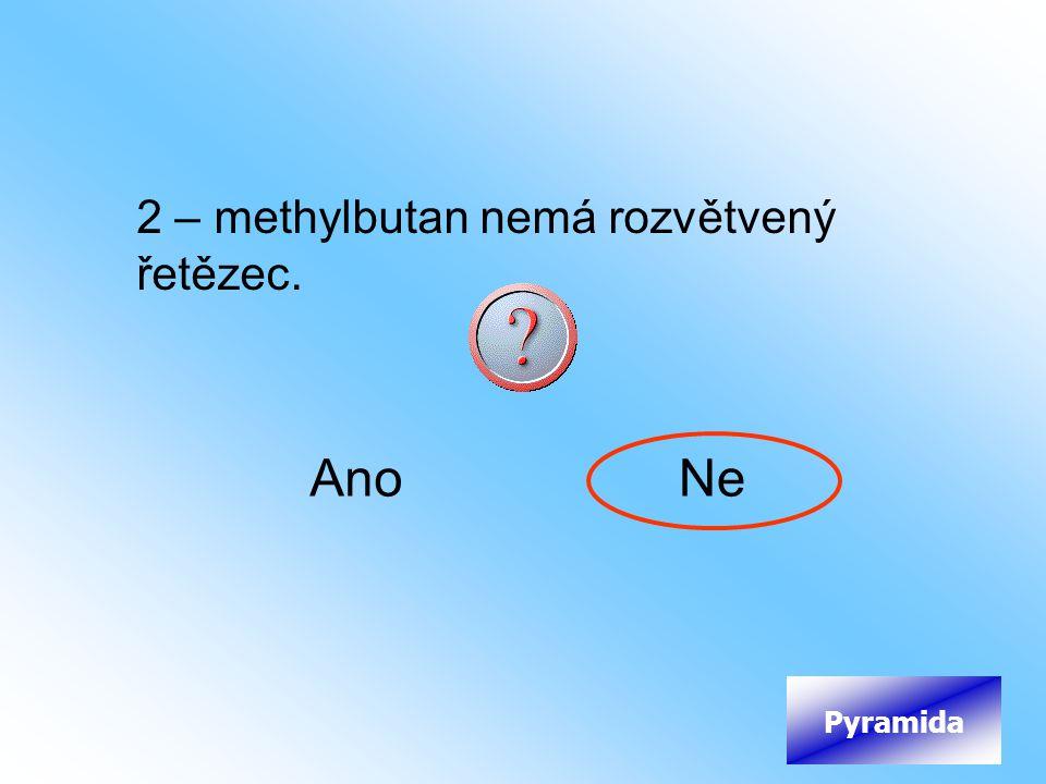 2 – methylbutan nemá rozvětvený řetězec.