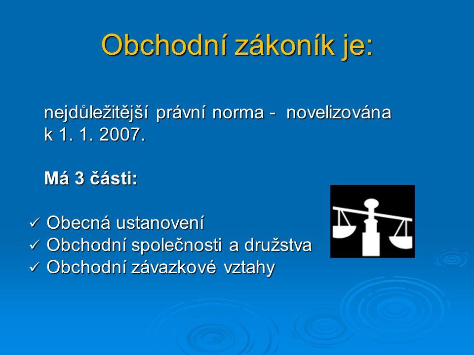 Obchodní zákoník je: nejdůležitější právní norma - novelizována