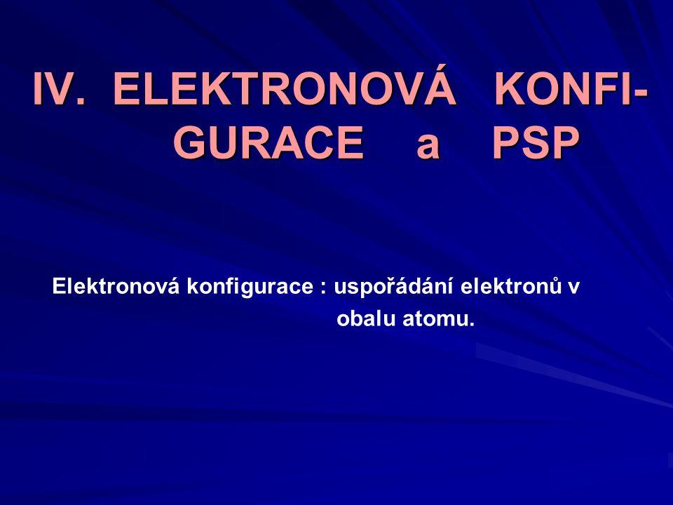 IV. ELEKTRONOVÁ KONFI- GURACE a PSP