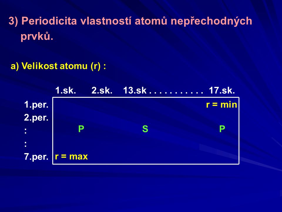 3) Periodicita vlastností atomů nepřechodných prvků.