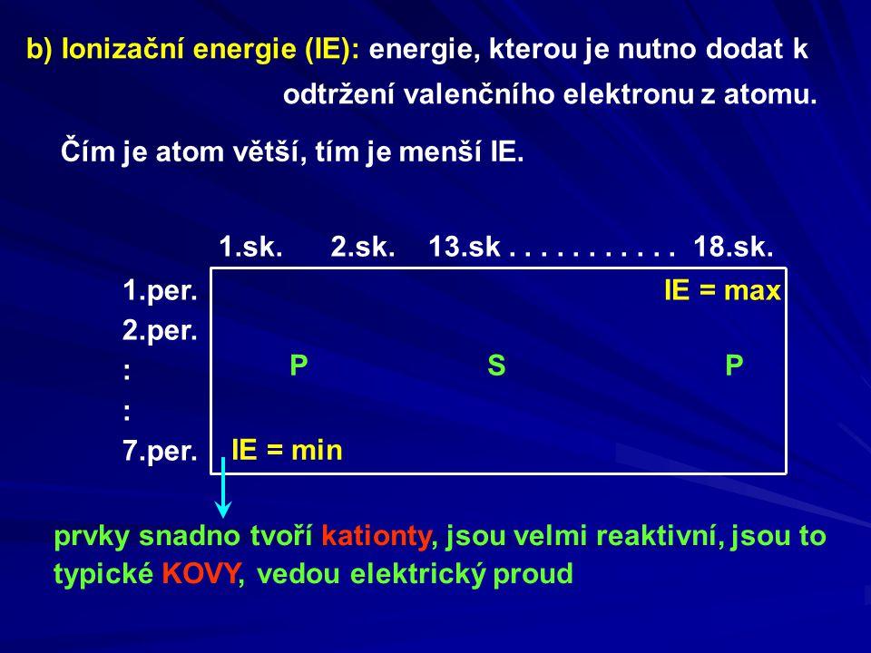b) Ionizační energie (IE): energie, kterou je nutno dodat k