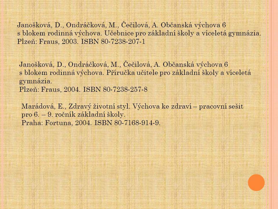 Janošková, D., Ondráčková, M., Čečilová, A. Občanská výchova 6