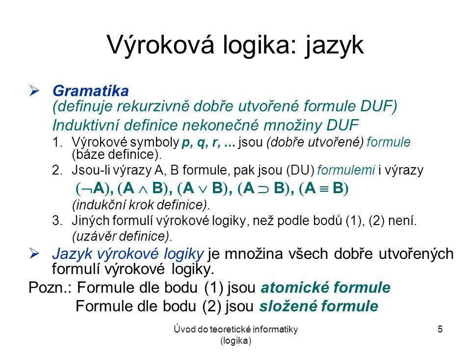 Výroková logika: jazyk