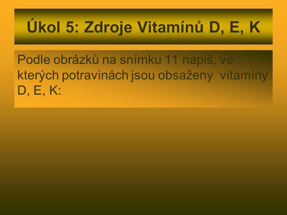 Úkol 5: Zdroje Vitamínů D, E, K