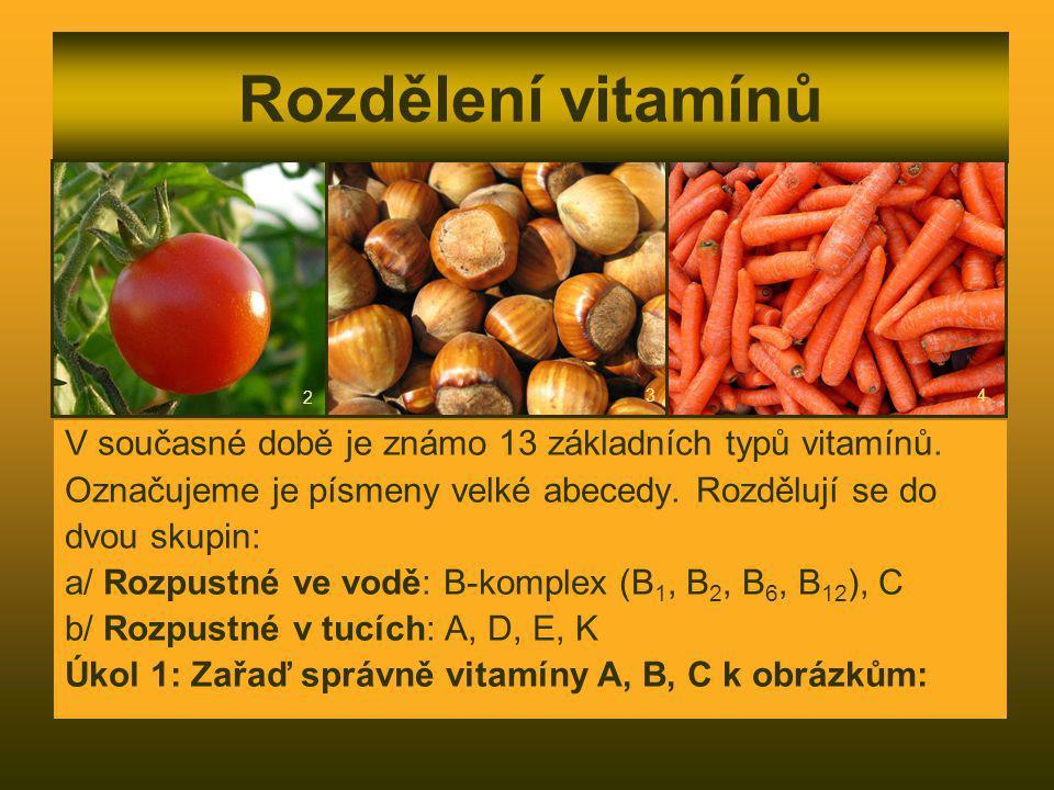 Rozdělení vitamínů 2. 3. 4. V současné době je známo 13 základních typů vitamínů. Označujeme je písmeny velké abecedy. Rozdělují se do.