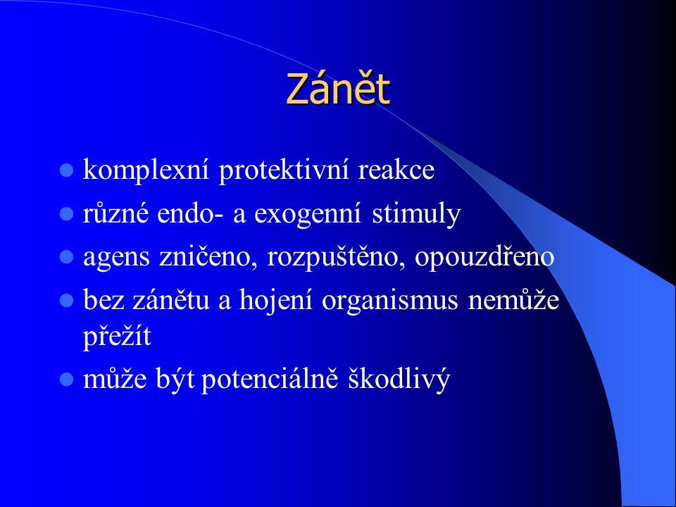 Zánět komplexní protektivní reakce různé endo- a exogenní stimuly