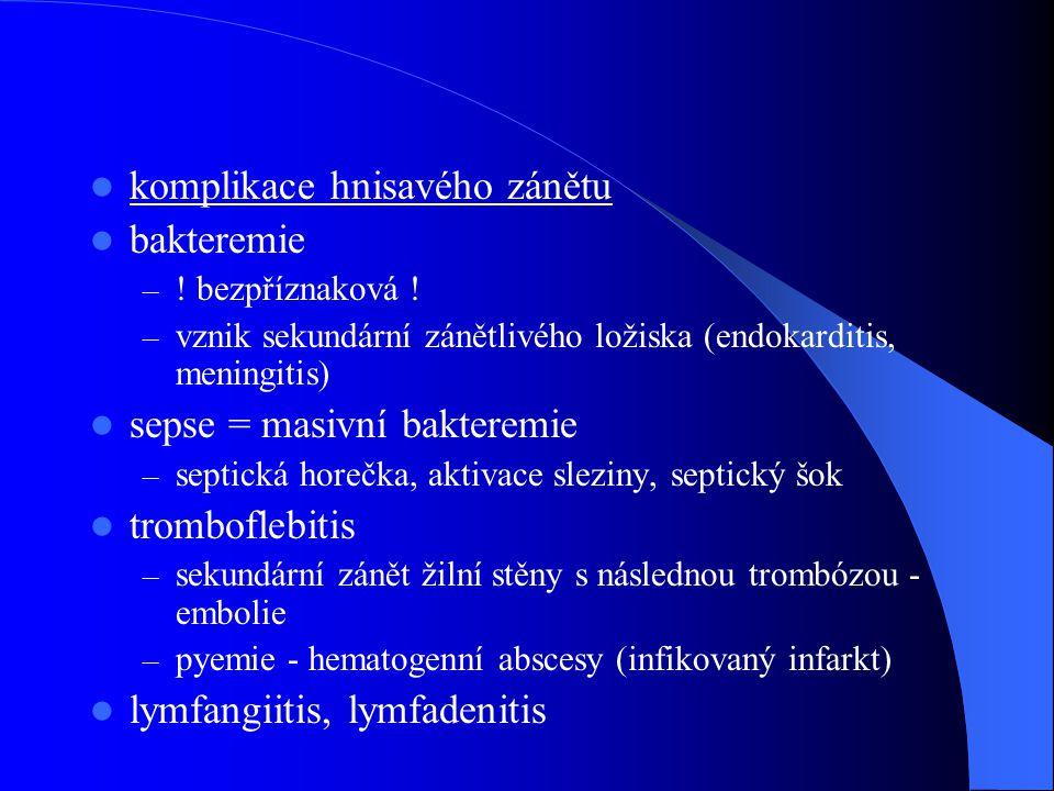 komplikace hnisavého zánětu bakteremie