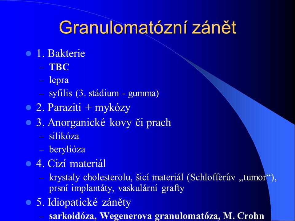 Granulomatózní zánět 1. Bakterie 2. Paraziti + mykózy