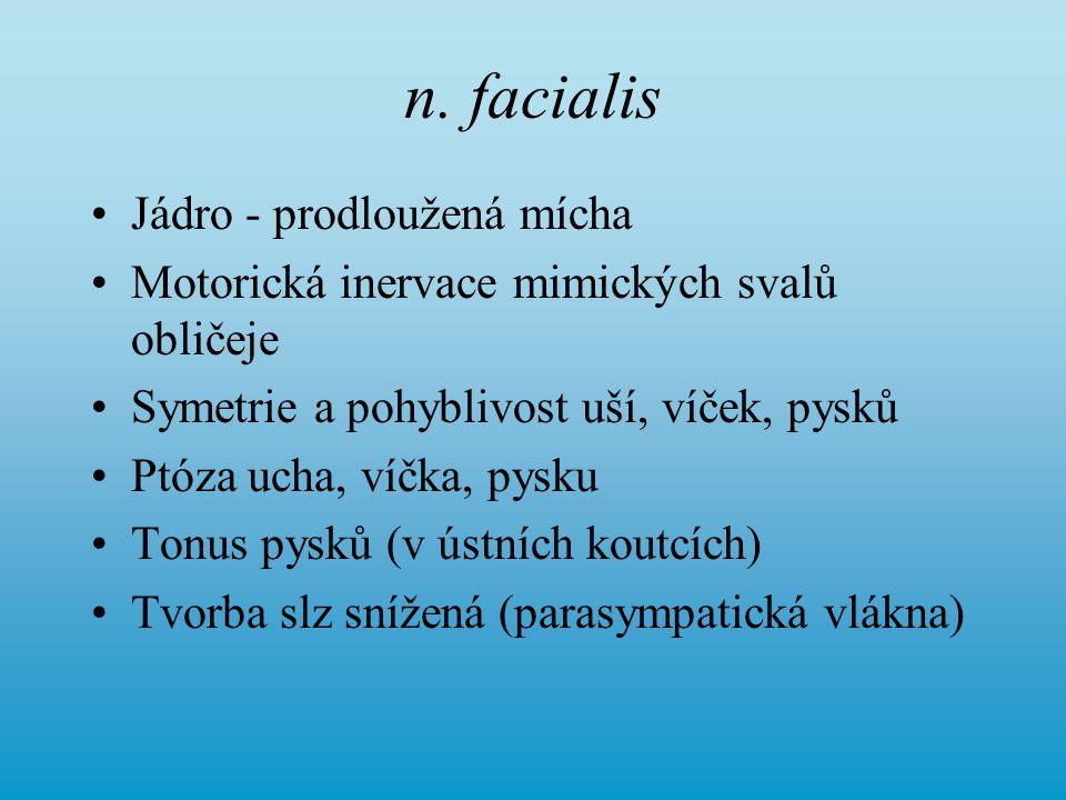 n. facialis Jádro - prodloužená mícha