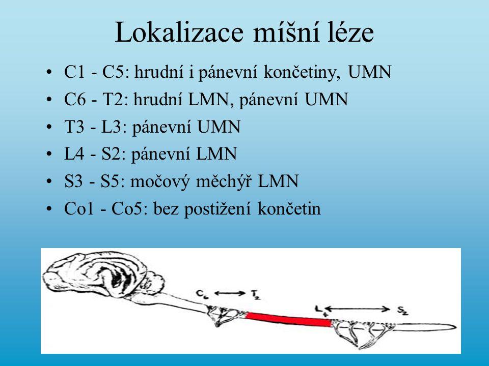 Lokalizace míšní léze C1 - C5: hrudní i pánevní končetiny, UMN