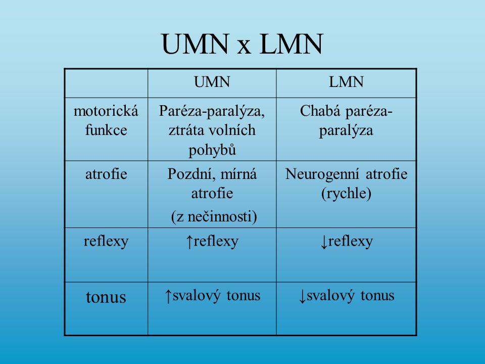UMN x LMN tonus UMN LMN motorická funkce