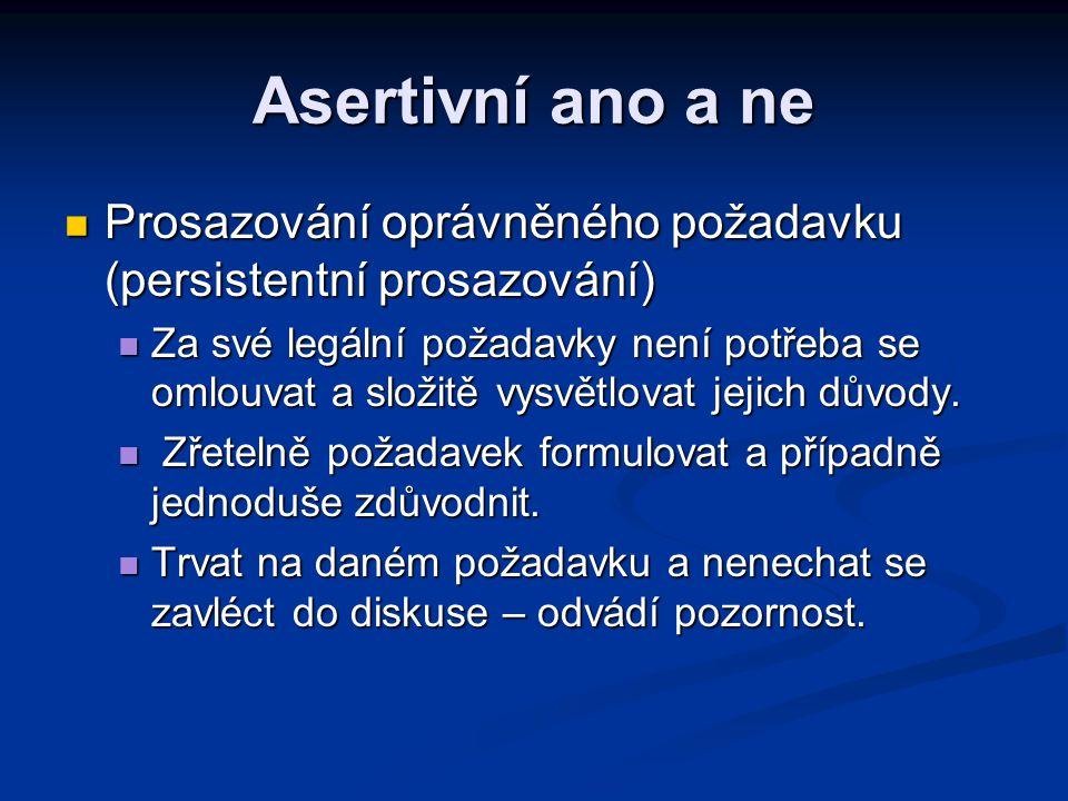Asertivní ano a ne Prosazování oprávněného požadavku (persistentní prosazování)