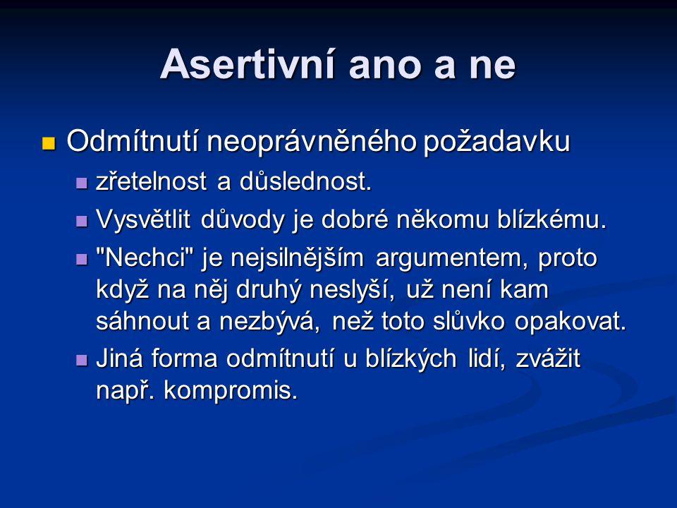 Asertivní ano a ne Odmítnutí neoprávněného požadavku