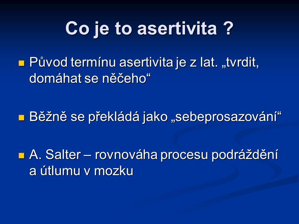 """Co je to asertivita Původ termínu asertivita je z lat. """"tvrdit, domáhat se něčeho Běžně se překládá jako """"sebeprosazování"""