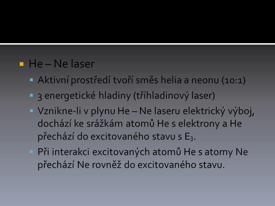 He – Ne laser Aktivní prostředí tvoří směs helia a neonu (10:1)