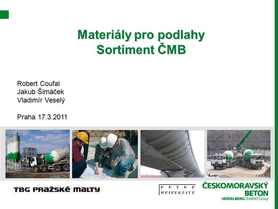 Materiály pro podlahy Sortiment ČMB