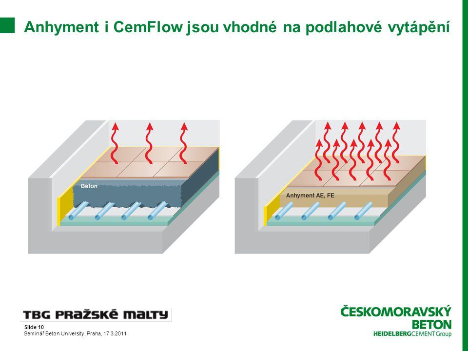 Anhyment i CemFlow jsou vhodné na podlahové vytápění